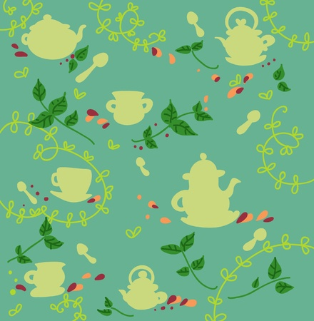 Tea and teapots silhouettes seamless pattern.