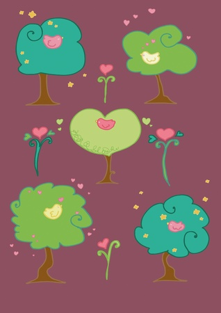 Cute birds on trees compositions. Illustration