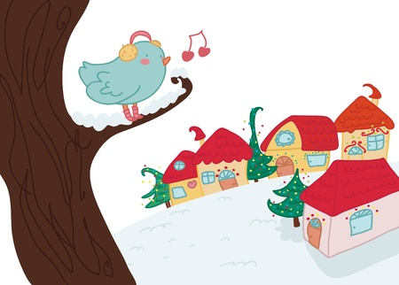 christmas landscapes, with a funny singing bird.  Illustration