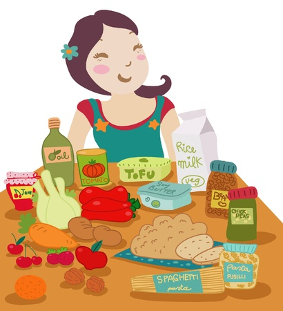 A smiling woman in front of a table set with vegan aliments.  Vector