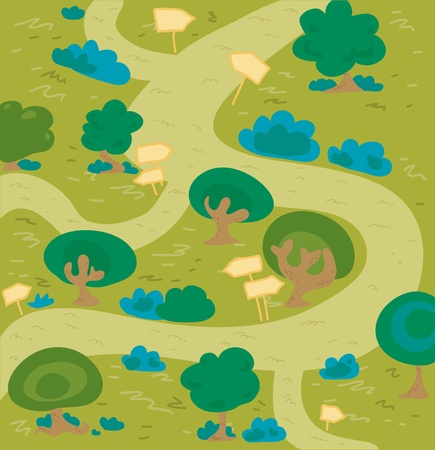 Cartoon labyrinth forest.  Vector