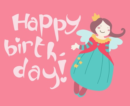 cute smiling fairy happy birtdhay card Vector