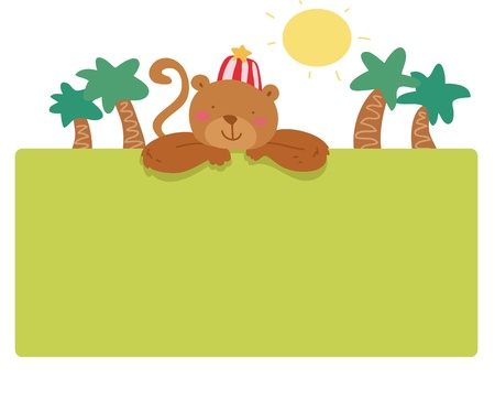 funny monkey frame page Illustration