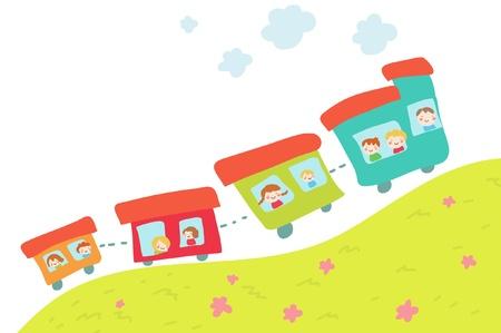 cartoon train on hill Vector