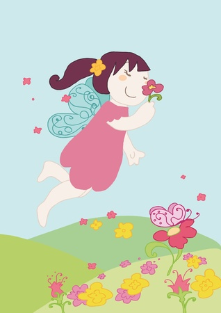 smells: little fairy smells a flower Illustration