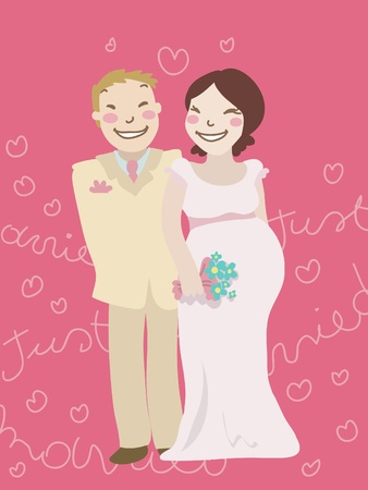Cartoon just married couple with pregnant woman. Decorated background. Vector