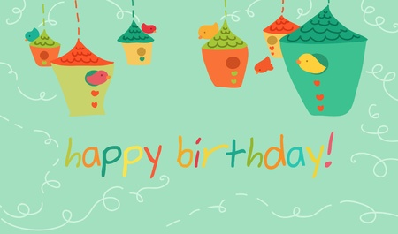 birds happy birthdays card.  Vector