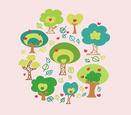Cartoon trees colorful card.  Illustration