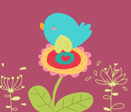 bird on flower cartoon card
