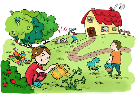 kids garden: An happy magic numbers garden. Digital  Stock Photo