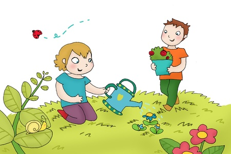 Two kids watering the plants. Digital  Stock Photo