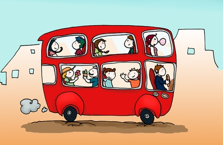 tours: A red happy city bus full of people. Digital color.