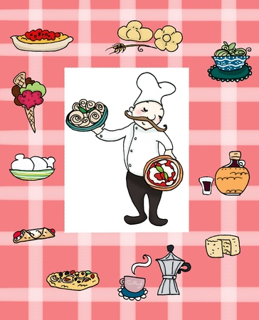 A smiling italian chef with many famous italian foods. Digital illustration illustration