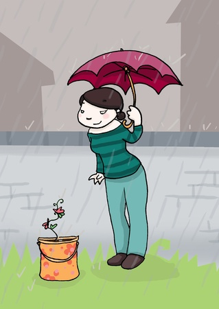 a young woman looks a flower under the rain Stock Photo