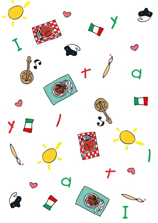 Italian symbols repetition pattern. Digital photo