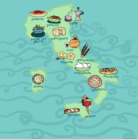 An original food map of Italy.Digital