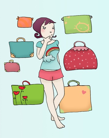 Girl in doubt to packs the luggage for the holidays. Digital colors.
