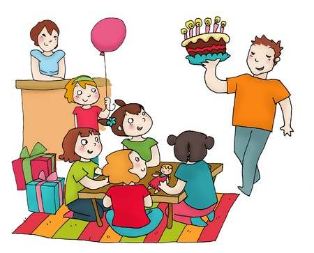 A birthday party of a girl with her friends and her parents. Digital