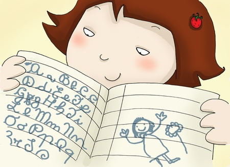exercisebook: A girl shows her exercise-book with the italian alphabet. Digital colors.