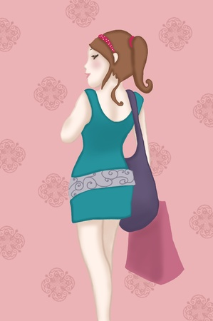 A beautiful woman in a blue dress with shopping bags on retro pink background. Digital illustration.  Stock Photo