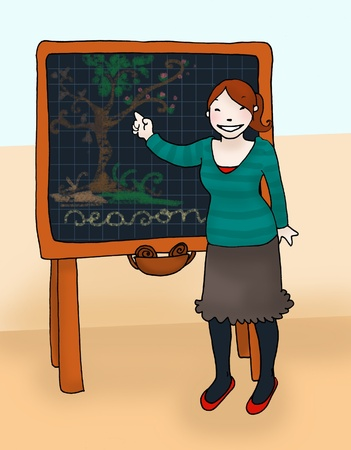 Young teacher explains at the blackboard. Digital colors  Stock Photo