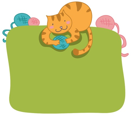 Happy cat frame page Vector
