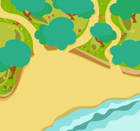 forest and beach map style photo