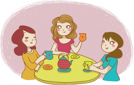 three women drinking tea
