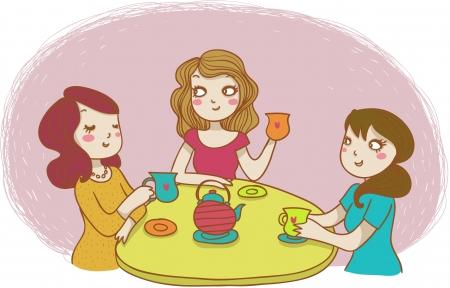 socializando: tres mujeres bebiendo té