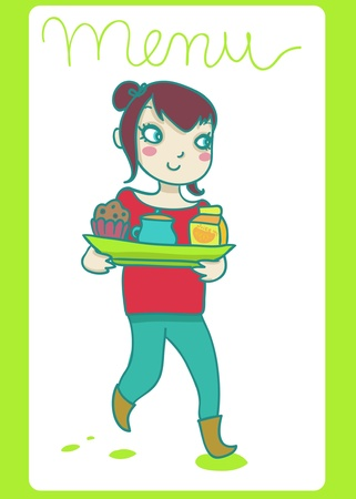 girl holding  full  tray Vector