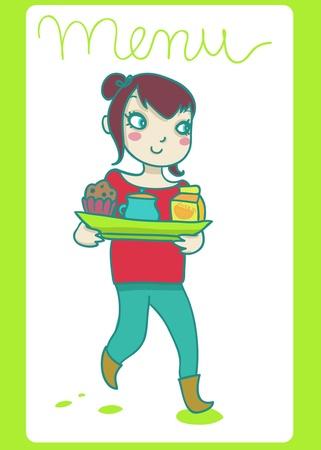tearoom: girl holding  full  tray