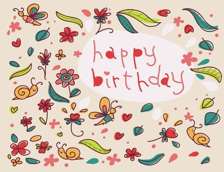 happy birthday cartoon floral card