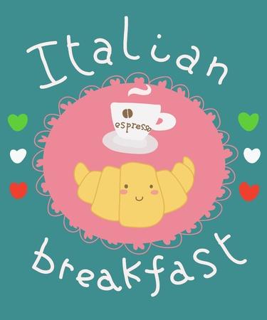 funny cartoon italian breakfast card photo