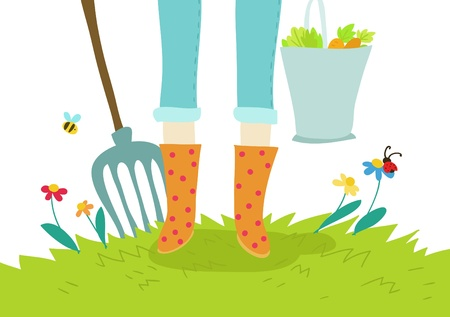 gardening and cultivation cartoon illustration Stock Photo