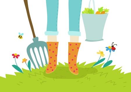 gardening and cultivation cartoon illustration Stock Illustration - 13514378