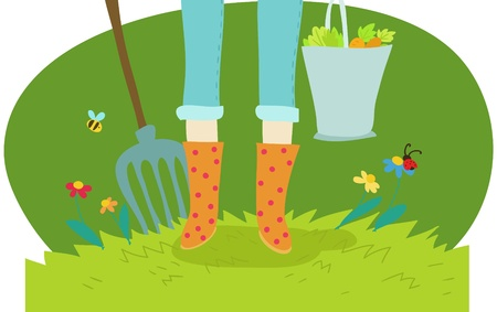 gardening and cultivation cartoon illustration on green Stock Photo