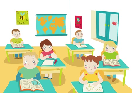 children in classrom cartoon illustration Stock Photo