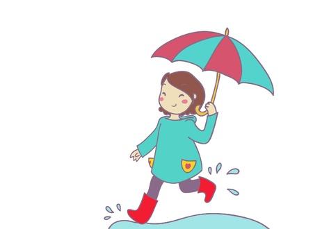 rainstorm: an happy girl runs under the rain Stock Photo