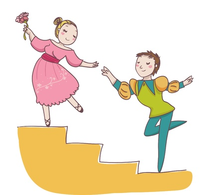 romeo and juliet: ballet dancers cartoon illustration
