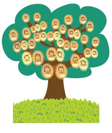 árbol genealógico: divertida caricatura árbol genealógico Foto de archivo