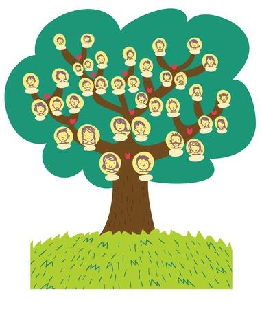 unmarried: divertida caricatura �rbol geneal�gico Foto de archivo