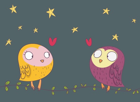two funny owl falling in love Stock Photo