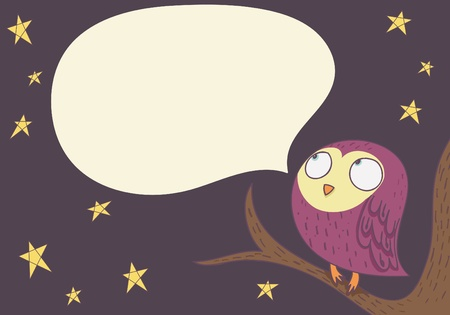 exclaim: speaking owl. cartoon illustration