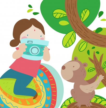 a girl riding an elephant takes a picture of a funny monkey photo