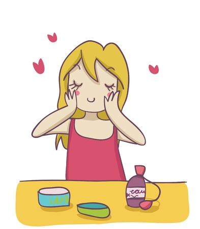 A blond woman applying moisturizer cream on her face. Funny cartoon illustration