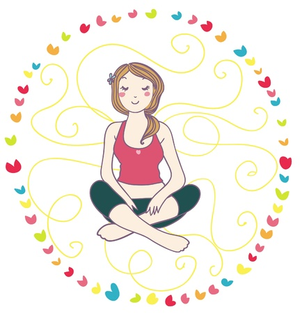 smiling woman in yoga relax. curly background