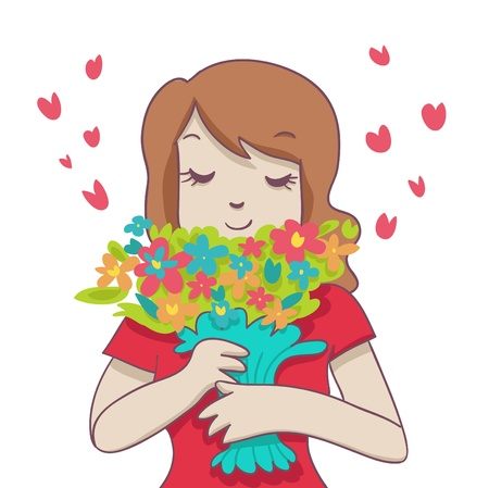 smiling woman hold a colorful bouquet