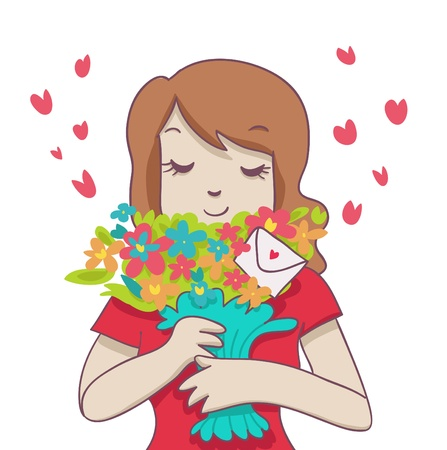 smiling woman hold a colorful bouquet with little romantic envelope