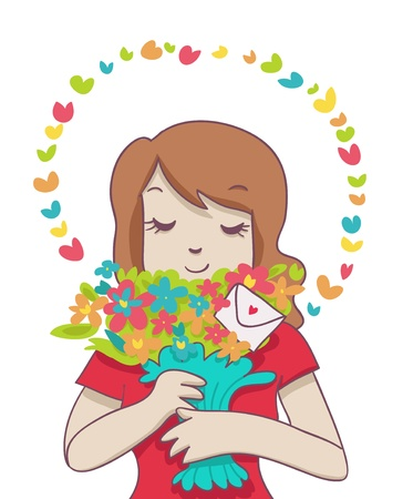 smiling woman hold a colorful bouquet with little romantic envelope and colorful aura Stock Photo