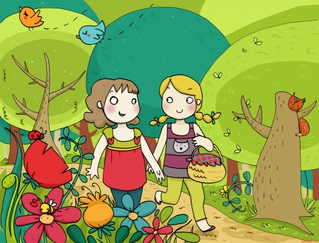 two little friends walking in a colorful wood